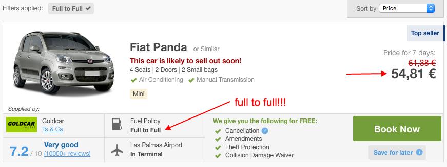 Rentalcars booking