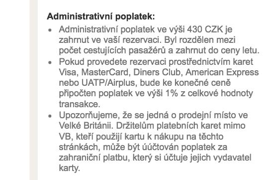 Administrativní poplatek Smartwings