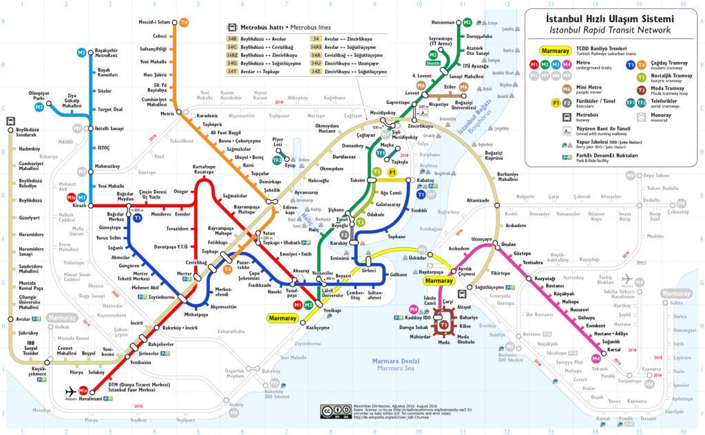 Istanbul mapa MHD