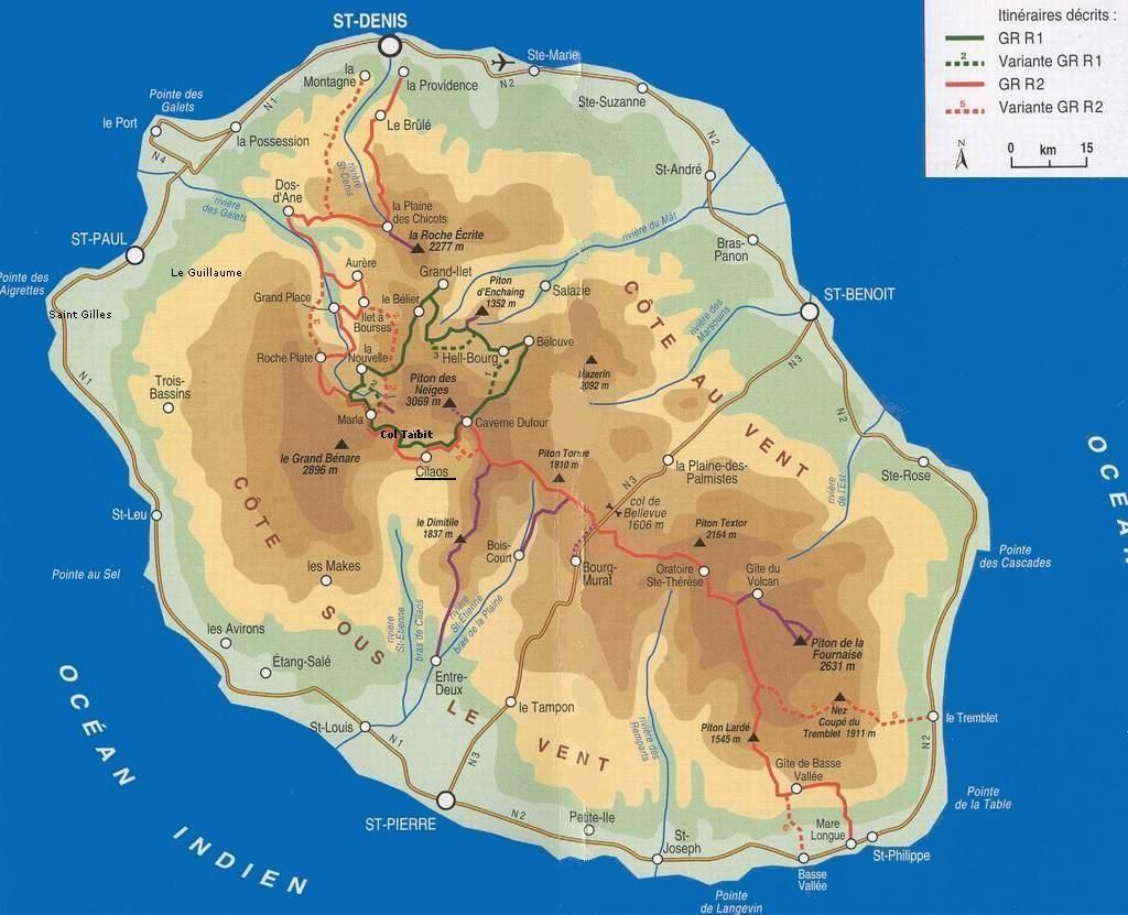 Mapa Réunion Trek GR1 GR2